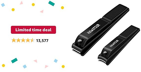 Limited-time Deal: Nail Clippers Set, Ultra Sharp Sturdy Fingernail and Toenail Clipper Cutters with Visibly Tin Case By HAWATOUR