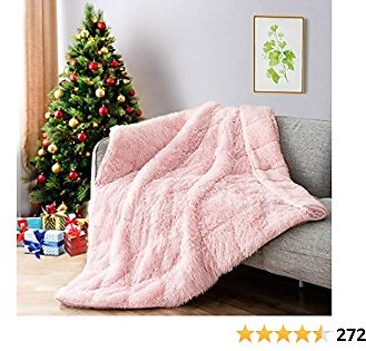 Lofus Shaggy Longfur Faux Fur Blanket, Fuzzy Sherpa Microfiber Blanket for Bed, Fluffy Cozy Plush Heavy Blanket, Washable Warm Furry Blanket for Couch Sofa Chair Home Decor, 60