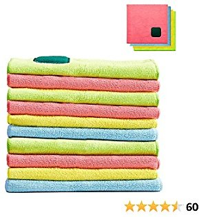 10 Pcs 2 in 1 Microfiber Cleaning Cloths with Scouring Pad, 12x12 Inches Absorbent and Durable Dish Cloth Set, No Odor and Soft Multi-Use Kitchen Dishcloths for Household, Cleaning Rags 4 Colors