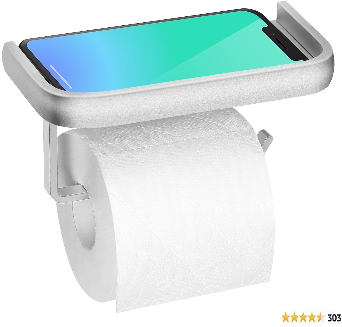 Toilet Paper Holder with Shelf, Aluminum Toilet Roll Holder with Phone Shelf, Wall Mounted Bathroom Tissue Holder