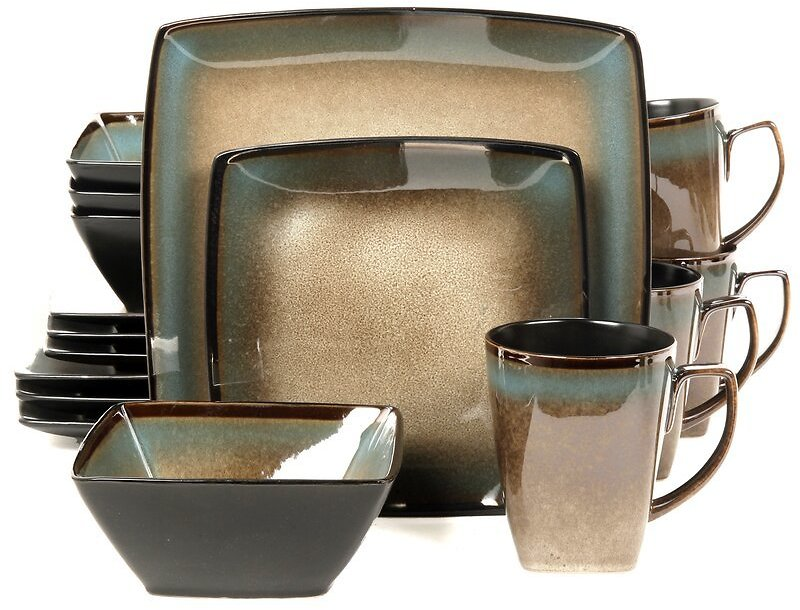 Gibson Tequesta 16pc Square Dinnerware Set in Taupe