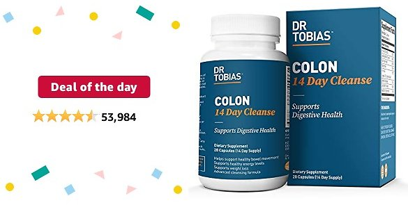 Deal of The Day: Dr. Tobias Colon 14 Day Cleanse, Supports Healthy Bowel Movements, 28 Capsules (1-2 Daily)