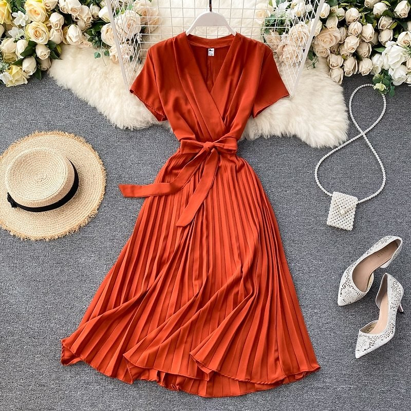 12.01US $ 44% OFF Autumn Fashion New Female Solid Pleated Dress Women V Neck Short Sleeves Sashes Long Dresses Summer Streetwear Vintage Cover-up  - AliExpress