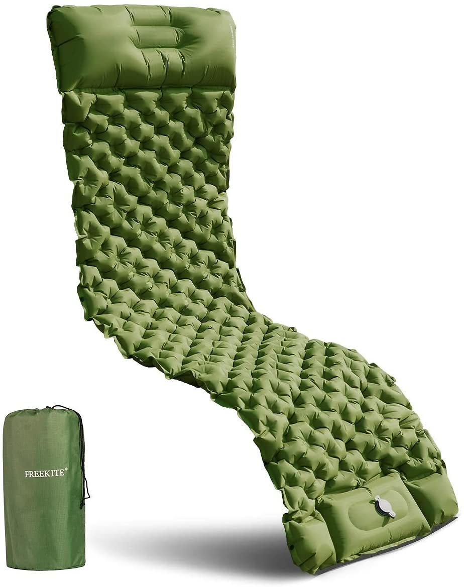 Inflatable Camping Mat with Built-in Pump and Pillow for Backpacking, Traveling, Hiking