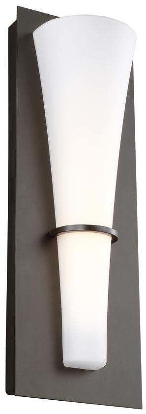 Sea Gull Lighting Barrington 5.25 In. W. 10-Watt Oil Rubbed Bronze Integrated LED Wall Sconce with Opal Etched Glass Shade-WB1341ORB-L1