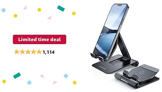 Limited-time Deal: Lamicall Adjustable Cell Phone Stand for Desk - Foldable Aluminum Desktop Phone Holder Cradle Dock, Compatible with Phone 12 Mini 11 Pro Xs Xs Max Xr X 8 7 6 6s Plus Smartphones, Tablets (4-11'')