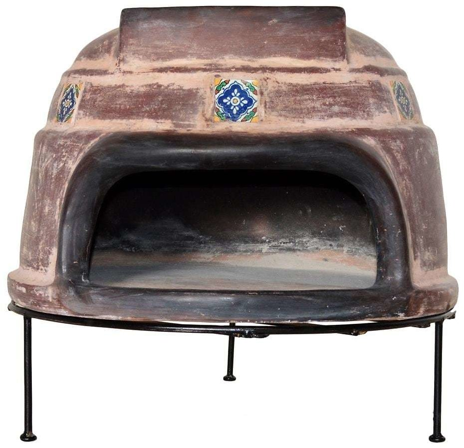 Ravenna Pottery 22 In. Talavera Tile Ocre Round Smooth Wood Burning Outdoor Pizza Oven in Brown-WRPO-002