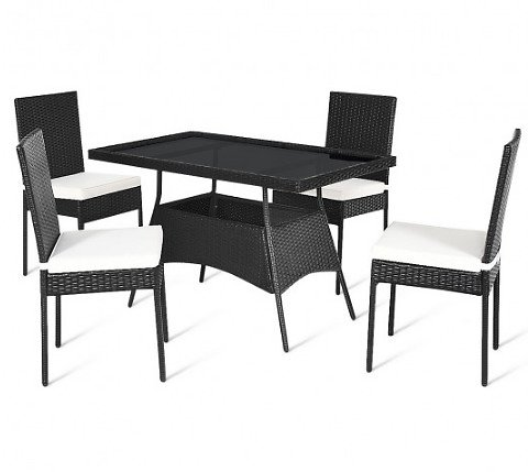 5 Pcs Outdaoor Patio Rattan Dining Set with Glass Top with Cushions