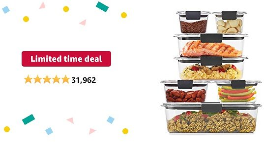 Limited-time Deal: Rubbermaid Brilliance Storage 14-Piece Plastic Lids   BPA Free, Leak Proof Food Container, Clear