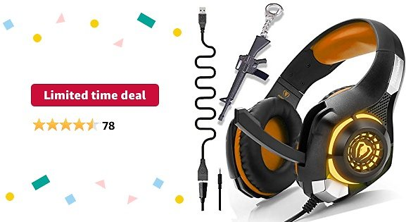 Limited-time Deal: Orange PS4 Gaming Headset with Mic,Newest Deep Bass Stereo Sound Over Ear Headphones with Noise Isolation LED Light for Xbox One PC Laptop Tablet Mac,Kids Teen Gifts (Orange)