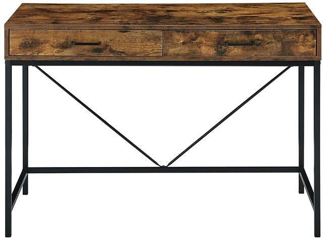 Industrial Computer Desk, Writing Study Table with 2 Drawers, Notebook PC Workstation, Wood Desktop Black Steel Frame, for Home, Office - Newegg.com