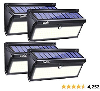 BAXIA TECHNOLOGY Solar Lights Outdoor, Wireless 100 LED Solar Motion Sensor Lights Waterproof Security Wall Lighting Outside for