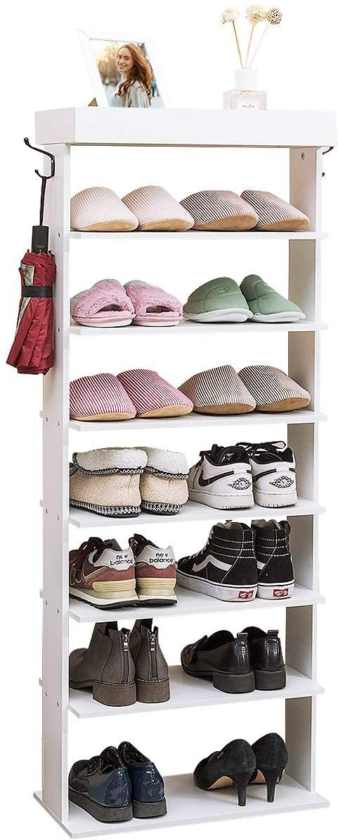 Tangkula 7-Tier Wooden Shoe Rack, Space Saving Vertical Shoe Storage Shelves W/Hooks & Extra Top Storage, Entryway Shoes Storage Stand, Multi Function Storage Shelf (White)