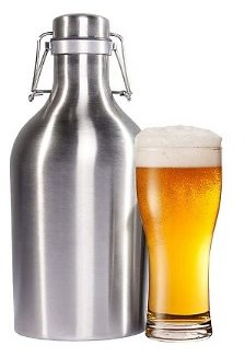 Stainless Steel Beer & Beverage Growler - 64 Oz. Bottle with Secure Swing Top Lid for Freshness