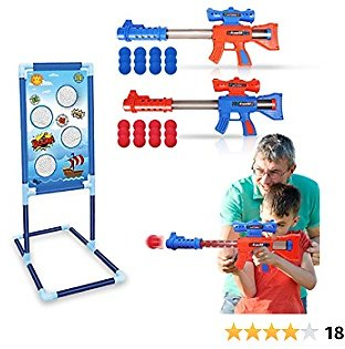 Shooting Game Toy For Kids Ages 5 6 7 8 9 10 + Boys Girls, 2 Player Air Powered Toy Guns With Standing Target & 24 Foam Balls, Family Interaction Indoor-Outdoor Activity, Ideal Gift For Kids Birthday