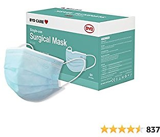 BYD CARE Single Use Disposable 3-Ply Surgical Mask, ASTM Level 3, Daily Protection for Men and Women for Home, Office, School, Restaurants, Gyms, Outdoor and Indoor, Box of 50 PCs