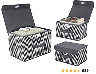 DIMJ 3Pcs Fabric Storage Bins & Storage Box with Flip-top Lid, Collapsible Large Basket Boxes for Books, Clothes, Toys Cubes, Home Bedroom Closet Office Organiser (Dark Grey)