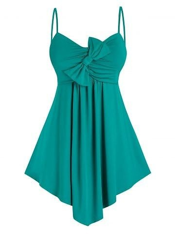 Plus Size Bowknot Asymmetric Hem Ruched Backless Cami Top