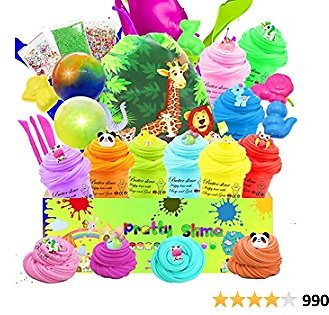KidsBay Butter Slime Kit for Kids with Colorful Slime Bucket 9 Pack