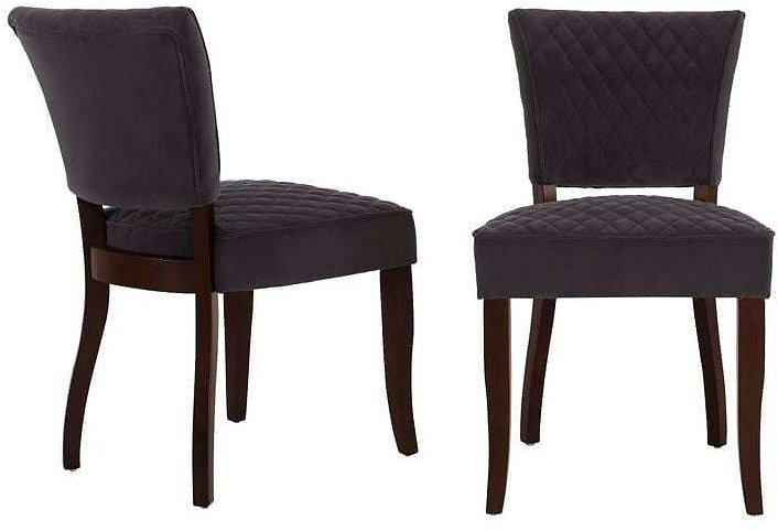 Home Decorators Collection Cline Chocolate Wood Upholstered Dining Chair with Charcoal Seat (Set of 2) (24.80 In. W X 34.25 In. H)-3188 D-charcoal