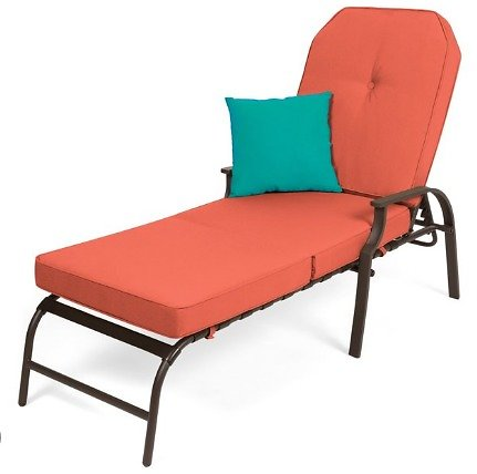 Best Choice Products Adjustable Outdoor Chaise Lounge Chair for Patio, Poolside w/ UV-Resistant Cushion - Brown/Red