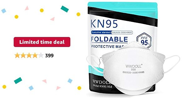 Limited-time Deal: WWDOLL KN95 Face Mask - 25 Pcs Breathable 3D Design Cup Dust Safety Masks, Protection KN95 Masks Against PM2.5 Dust, Pollen and Haze-Proof - KN95 958