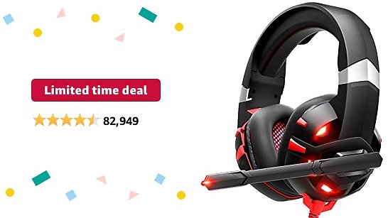 Limited-time Deal: RUNMUS Gaming Headset Xbox One Headset with 7.1 Surround Sound Stereo, PS4 Headset with Noise Canceling Mic & LED Light, Compatible with PC, PS4, Xbox One Controller(Adapter Needed), Nintendo Switch