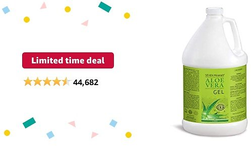 Limited-time Deal: Organic Aloe Vera Gel - 1 Gallon - with 100% Pure Aloe From Freshly Cut Aloe Plant, Not Powder - No Xanthan, So It Absorbs Rapidly With No Sticky Residue (128 Fl Oz)