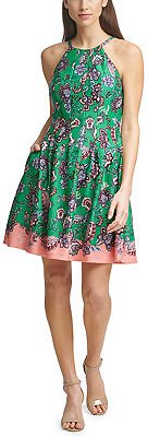 37% OFF Printed Fit & Flare Dress