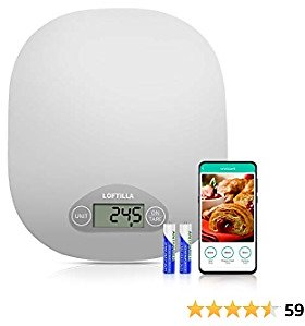 Loftilla Digital Food Scale for Kitchen with 1g/0.1oz Precision, 4 Units, Tare Function, Gram Scale for Baking and Cooking, Smart App