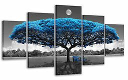 5 Piece Wall Art Blue Tree Paintings Gray and Blue Pictures for Living Room