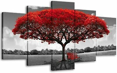 Canvas Wall Art Landscape Red Tree Picture Painting for Bedroom Living Room Deco