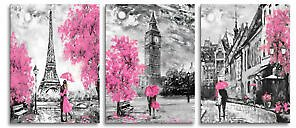 Black and White Art Eiffel Tower Wall Painting Big Ben Pictures for Living Room