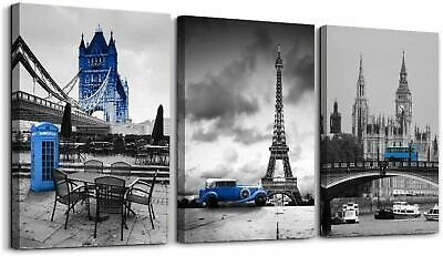 Black and White Wall Art Paris Tower London Bus Painting Pictures for Bedroom