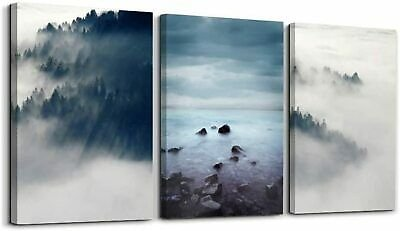 Misty Forest Canvas Wall Art Fog Mountain Landscape Pictures for Living Room
