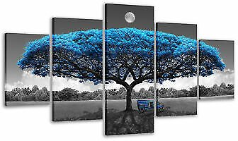 5 Pieces Wall Art Blue Tree Paintings Gray and Blue Pictures for Living Room