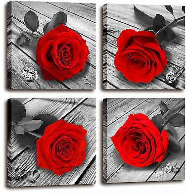 Red Rose Canvas Art Flower Picture Red and Black Wall Art for Bedroom Bathroom