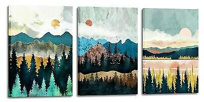 Abstract Mountain Wall Decor Watercolor Landscape Pictures for Bedroom Bathroom