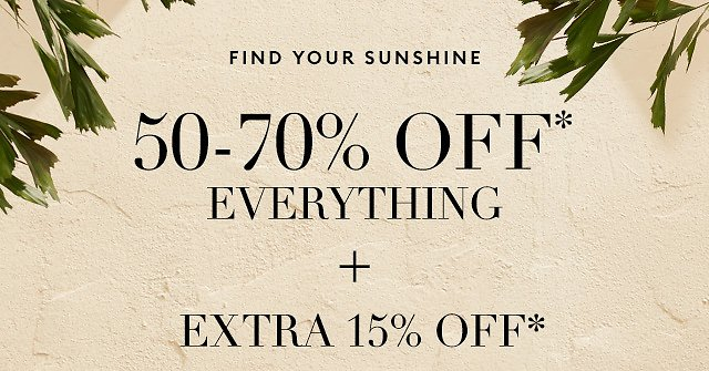 50-70% off everything + extra 15% off - Banana Republic