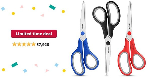 Limited-time Deal: Scissors Set, IBayam Black Blue Red Scissors for Crafting Sewing Scrapbooking Knitting Quilting, Yarn Ribbon Cloth Vinyl Leather Fabric Paper Cutting, DIY Arts Crafts, School Office Desk Supplies