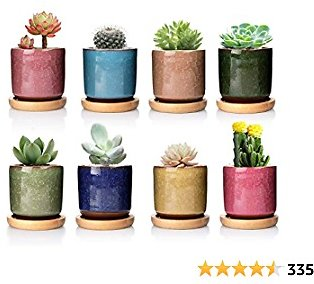 8 Pack DeeCoo Ceramic Ice Crack Succulent Plant Pot with Bamboo Tray