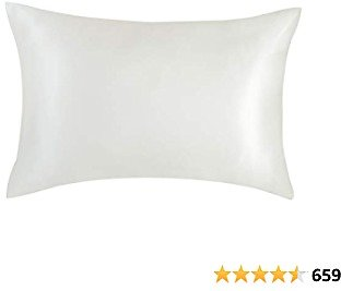 Bedsure White Mulberry Silk Pillowcase for Hair and Skin - Standard Size (20x26 Inches) Satin Pillowcase with Zipper Closure 1 Pack