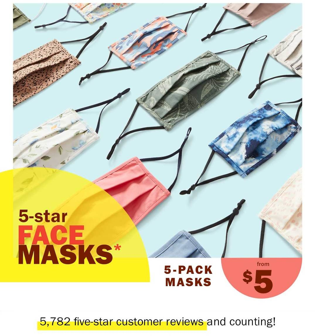 5-Pack Face Masks From $5.00 - Old Navy