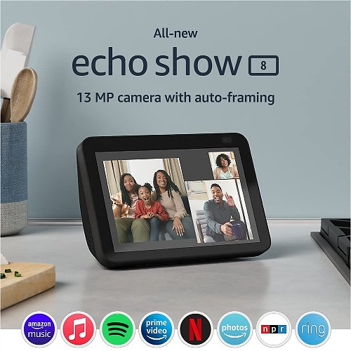 All-new Echo Show 8 (2nd Gen, 2021 Release) HD Smart Display with Alexa and 13 MP Camera (Pre-order)