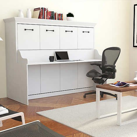 Melbourne Full Wall Bed with Desk Combo in White
