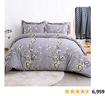 Bedsure Duvet Cover Set Twin Dark Grey Printed Spring Bloom Pattern (68x90 Inches) 2 Pieces Comforter Cover Zipper Closure (1 Duvet Cover + 1 Pillow Sham) Ultra Soft Hypoallergenic Microfiber