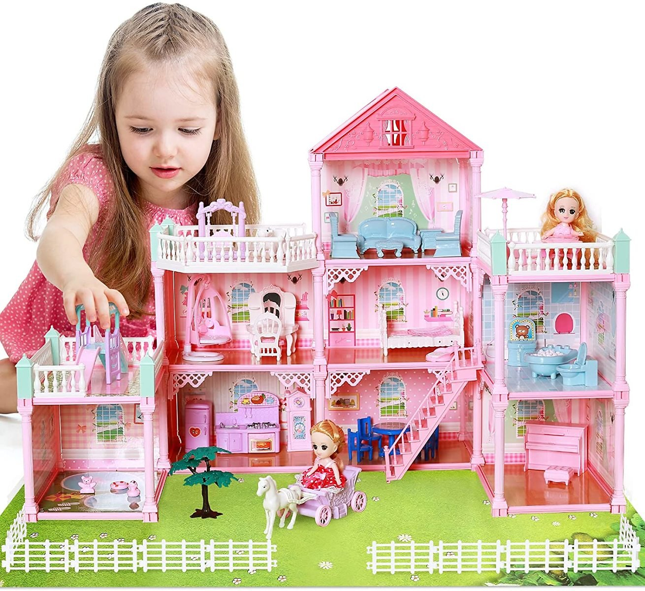50% Off Pretend Play Toddler Dollhouse Sets with 2 Dolls, Furniture, 8 Rooms and Doll Accessories