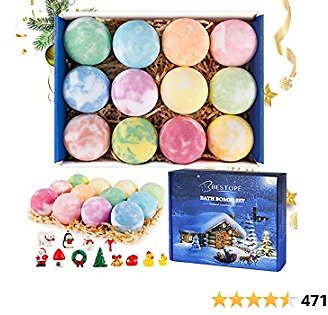 BESTOPE Christmas Bath Bombs for Kids with Toy Inside,Handmade Bubble Bath Bombs, Fizzies with Natural Dead Sea Salt Cocoa and Shea Essential Oils, Christmas Surprise Gift for Girls & Boys