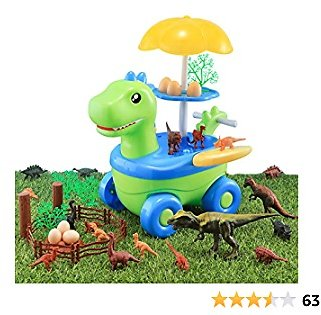 Dinosaur Toys for Kids, Baby Home 45 Pcs Creative Dinosaur Cart Toy Play Set Rotatable Trolley Truck with Music and Lighting Children's Educational Toys for Boys Girls (Dinosaur Toy Cart)