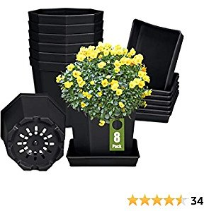 Plastic Plant Pots, Wiwoo 4 Inch Flower Pots with Drainage Holes and Saucers, 8 Pack Plant Containers for Small Plants Flowers Indoor Outdoor Garden Decoration (Black)